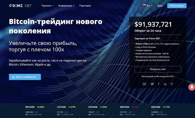 Биржа Prime XBT (PrimeXBT com): регистрация, обзор и отзывы