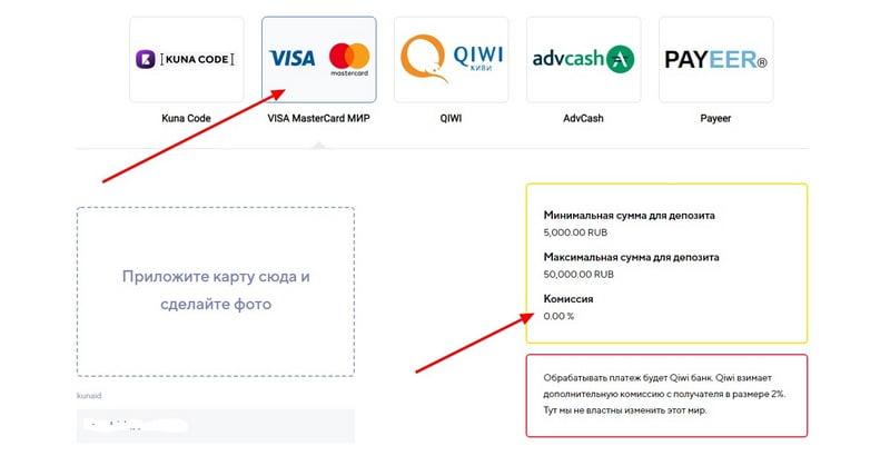 Пополнение биржи Куна в рублях без комиссии