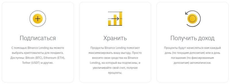 Создание депозита на Binance Lending
