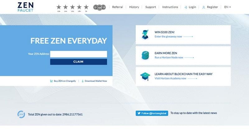 Кран Horizen (ZEN) Faucet (getzen cash): регистрация, обзор и отзывы