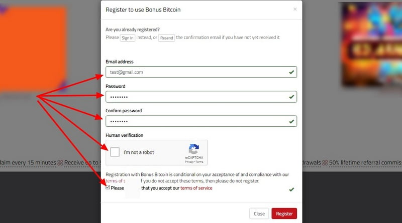 Форма регистрации BonusBitcoin co