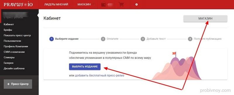 Выбор сайта на Prnews