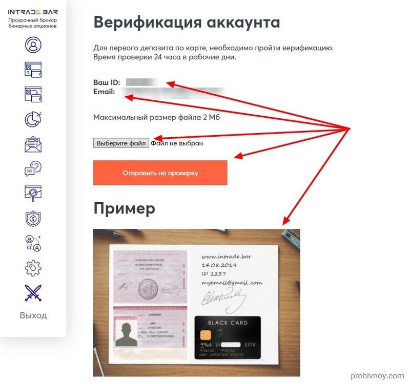 Intrade Bar верификация аккаунта