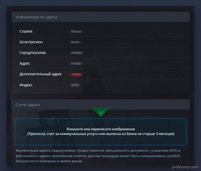 Pocket Option верификация адреса